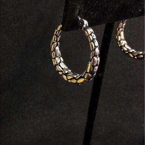 Retired Brighton Silver Intricate Hoop Earrings